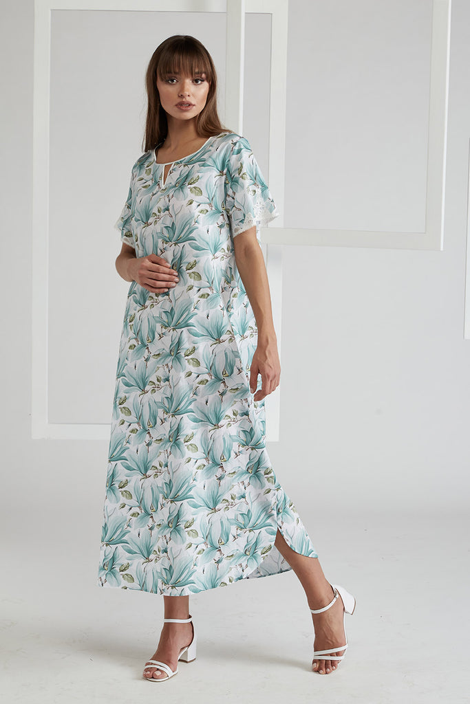 Poplin Dress Green Printed - Magnolia