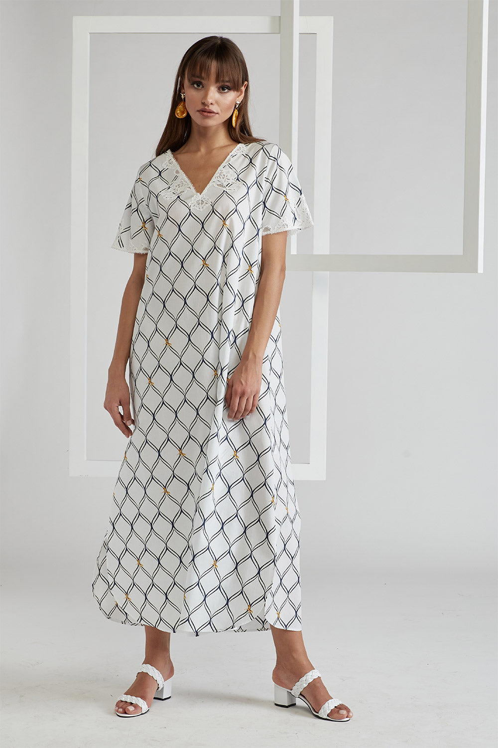Printed and Trimmed Cotton Poplin Dress - Royal Bee - Off White
