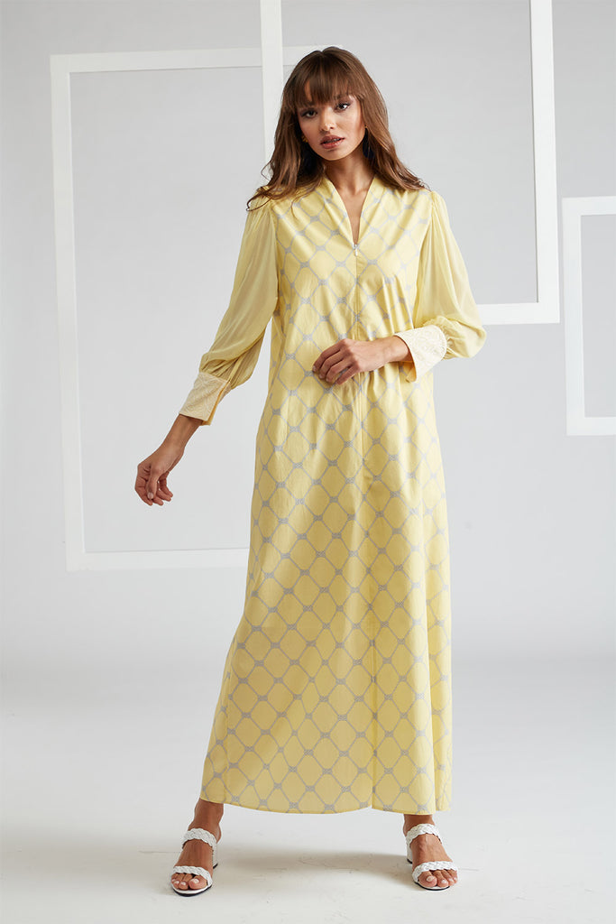 Printed Cotton Poplin and Silk Chiffon Dress- Daffodile Yellow