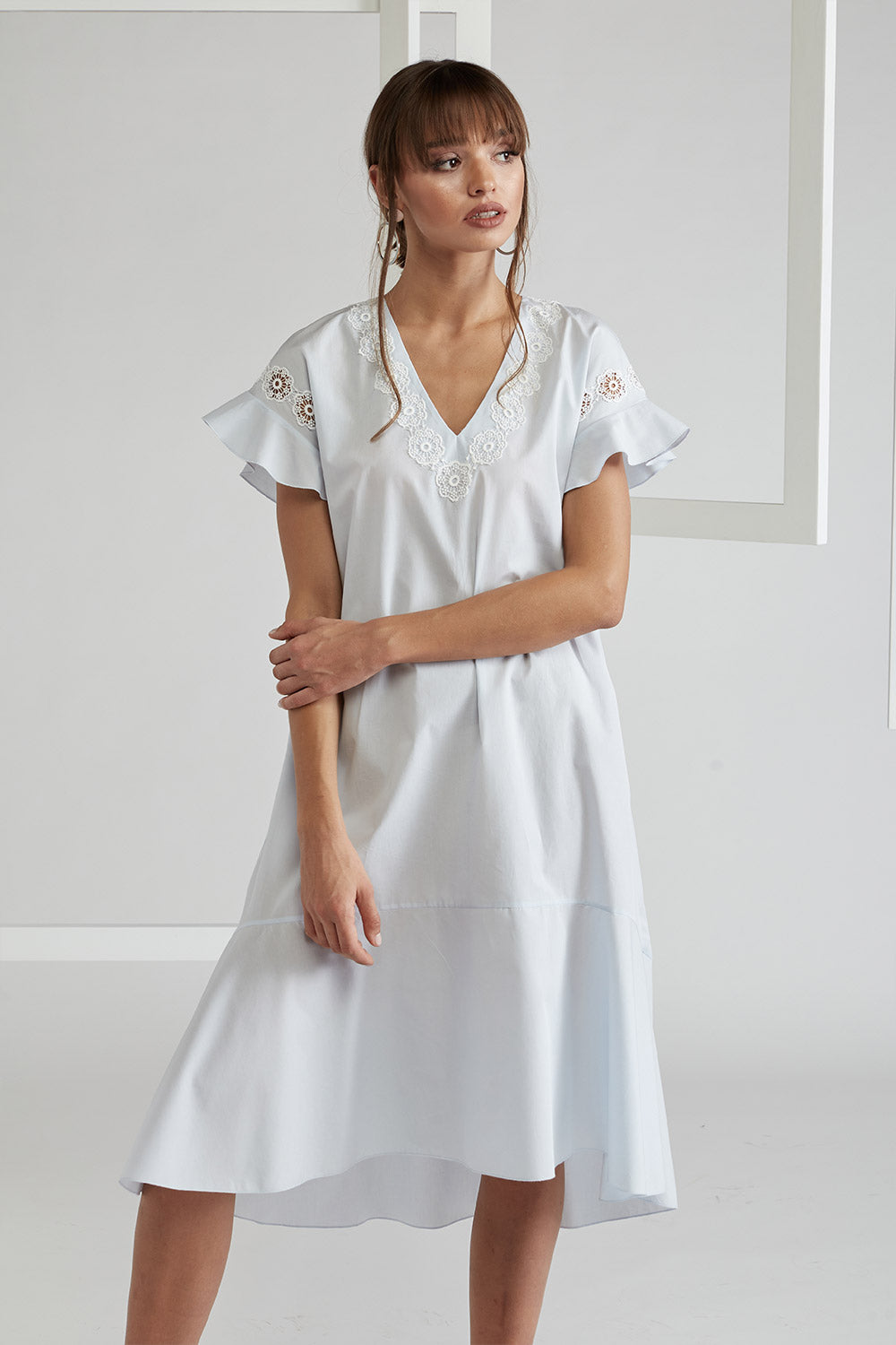 Trimmed Cotton Poplin Dress - Miss Bocan Light Blue