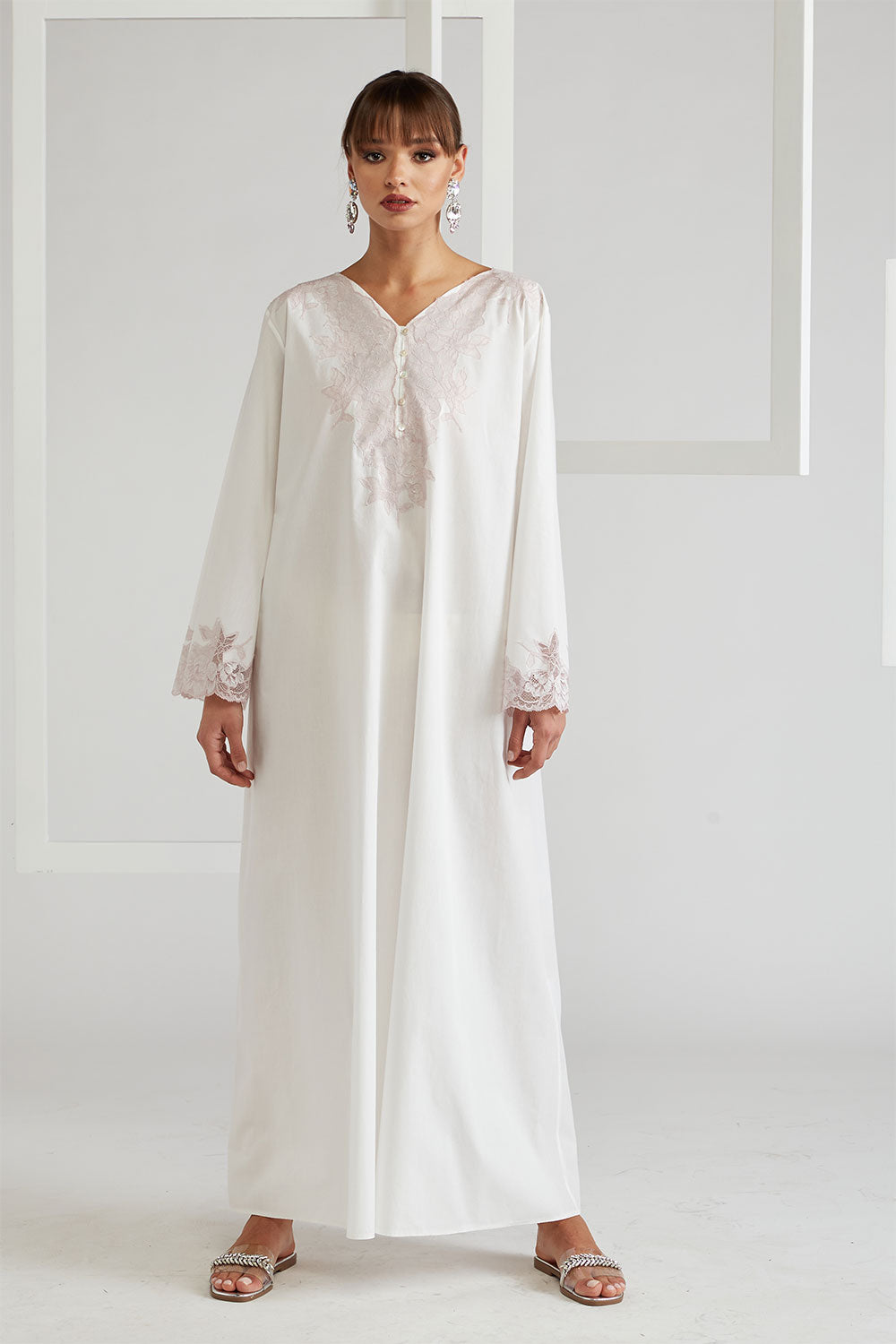 Cotton Poplin Dress - Big Rose ( Powder) Off White