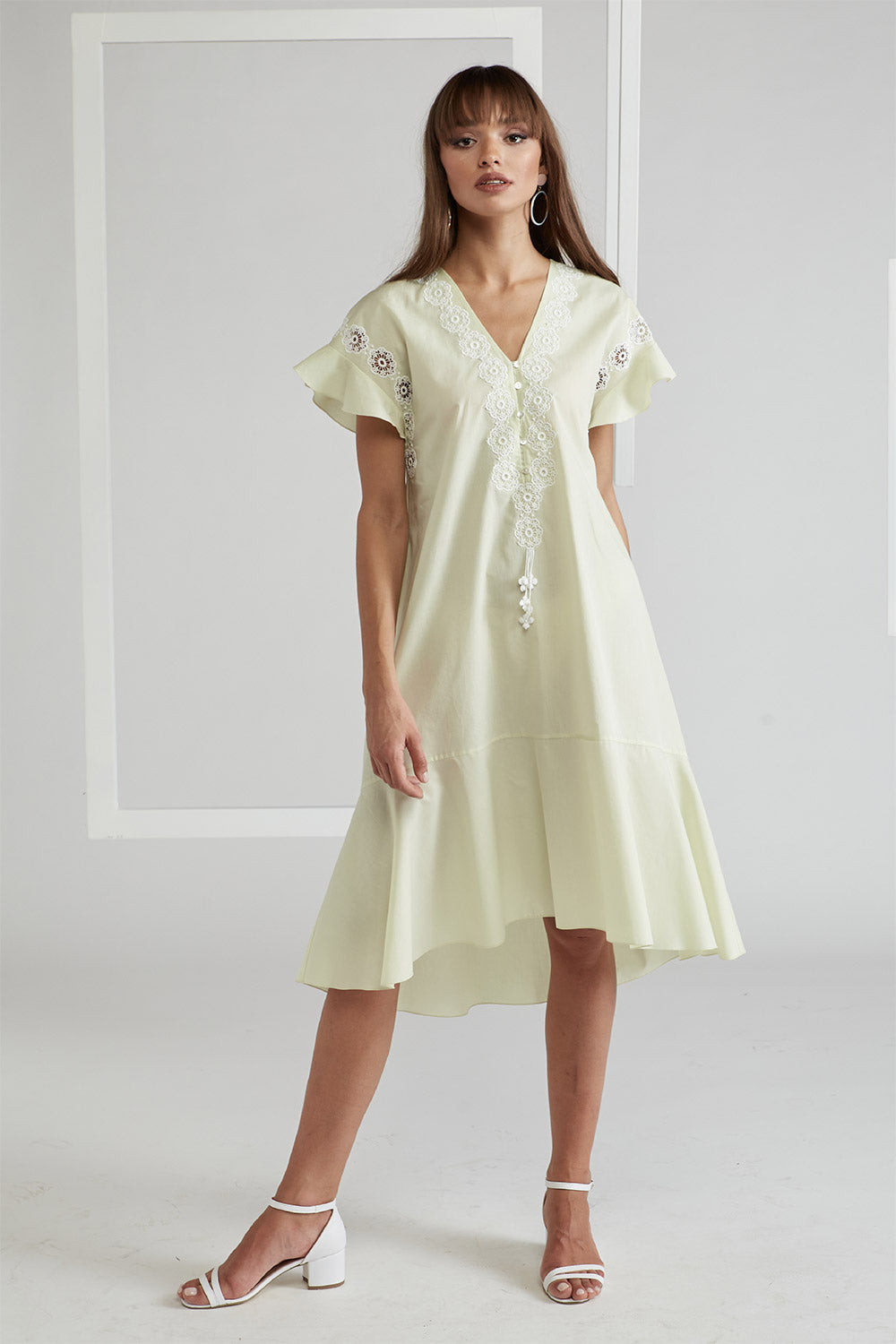 Cotton Poplin Dress - Miss Bocan Nile Green