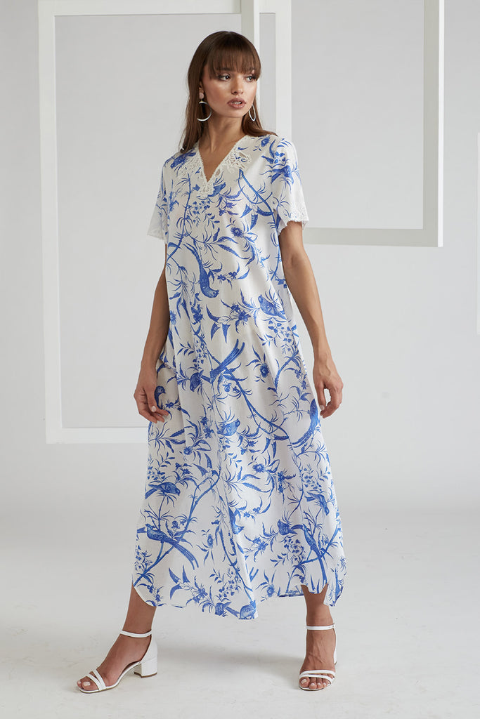 Printed and Trimmed Poplin Dress - Nicaea - Blue