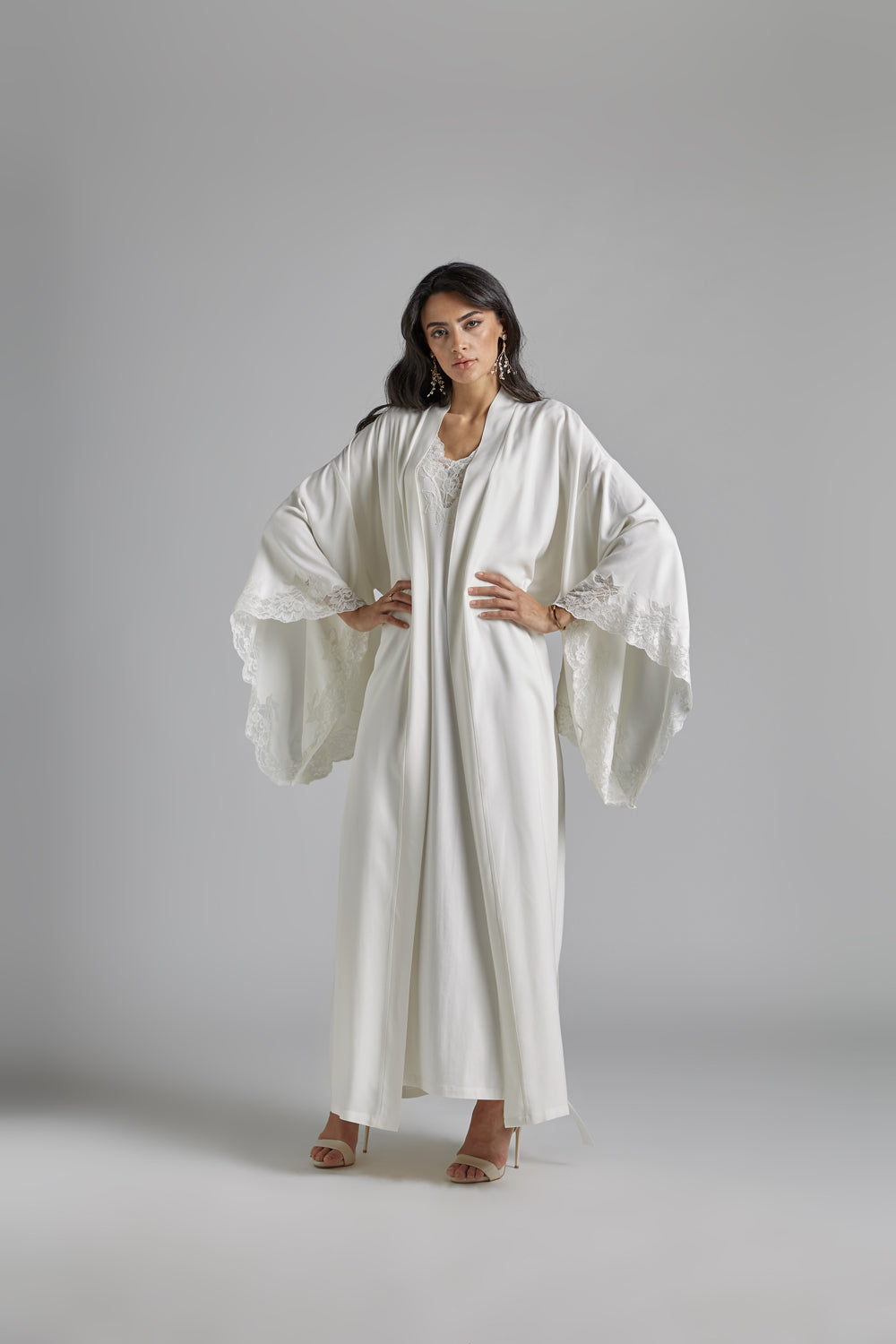 Trimmed Rayon Kimono and Trimmed Combed Cotton Nightie