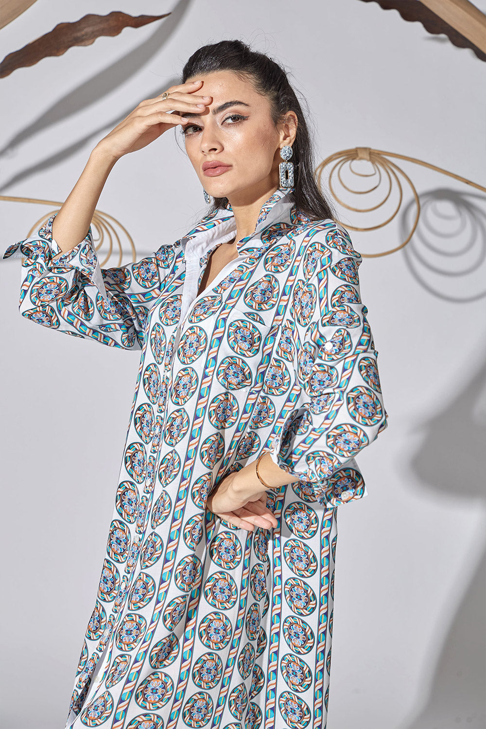Cotton Shirt Dress- Anatolian Blue