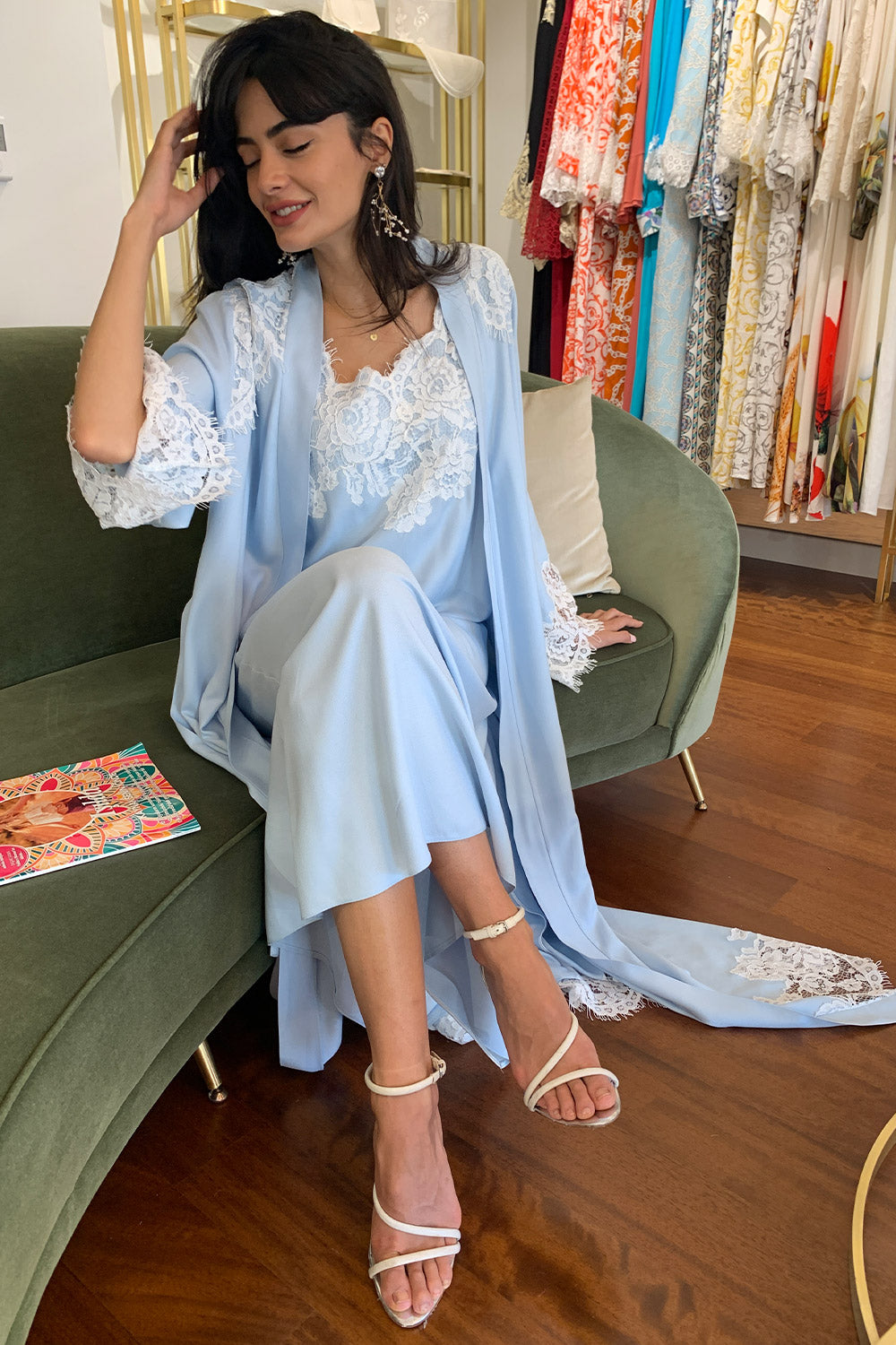 Robe Set - Baby Blue - Ecru