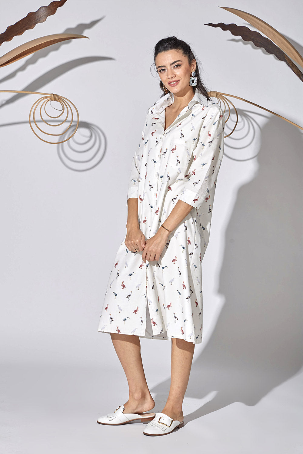 Cotton Shirt Dress- Bird of Paradise