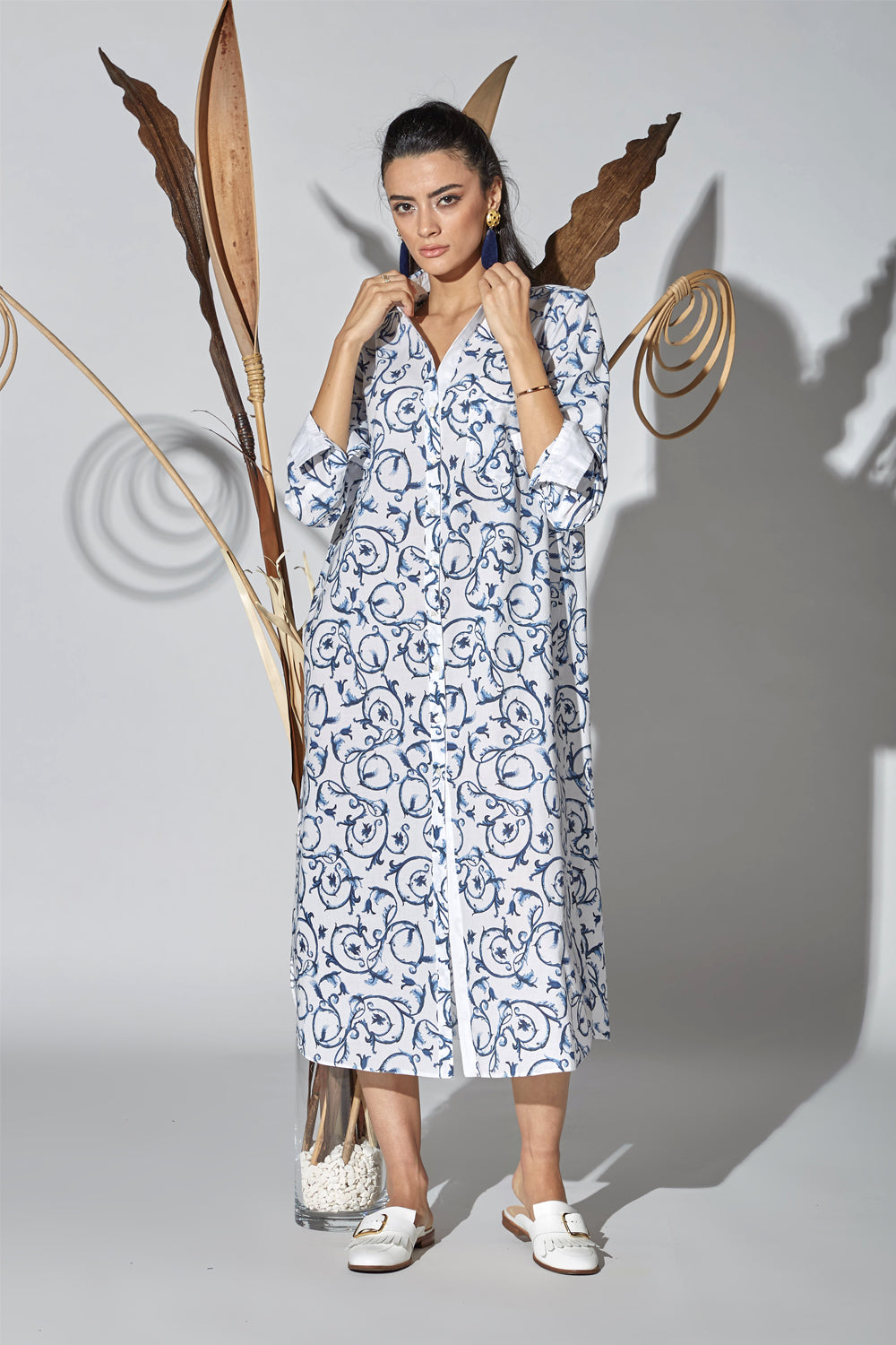 Cotton Shirt Dress - Bleu Blanc