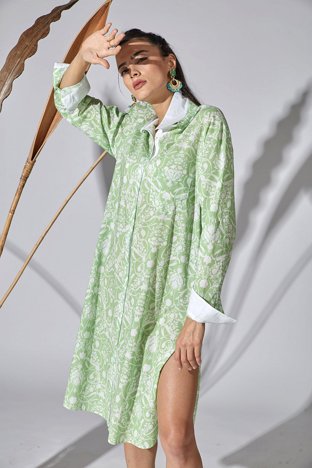 Cotton Shirt Dress - Caterpillar Green