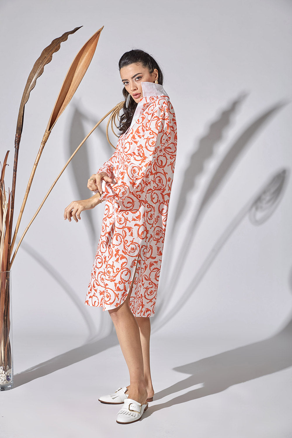 Cotton Shirt Dress - Mandarin