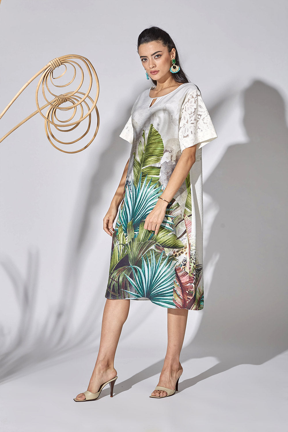 Cotton Shirt Dress - Palms