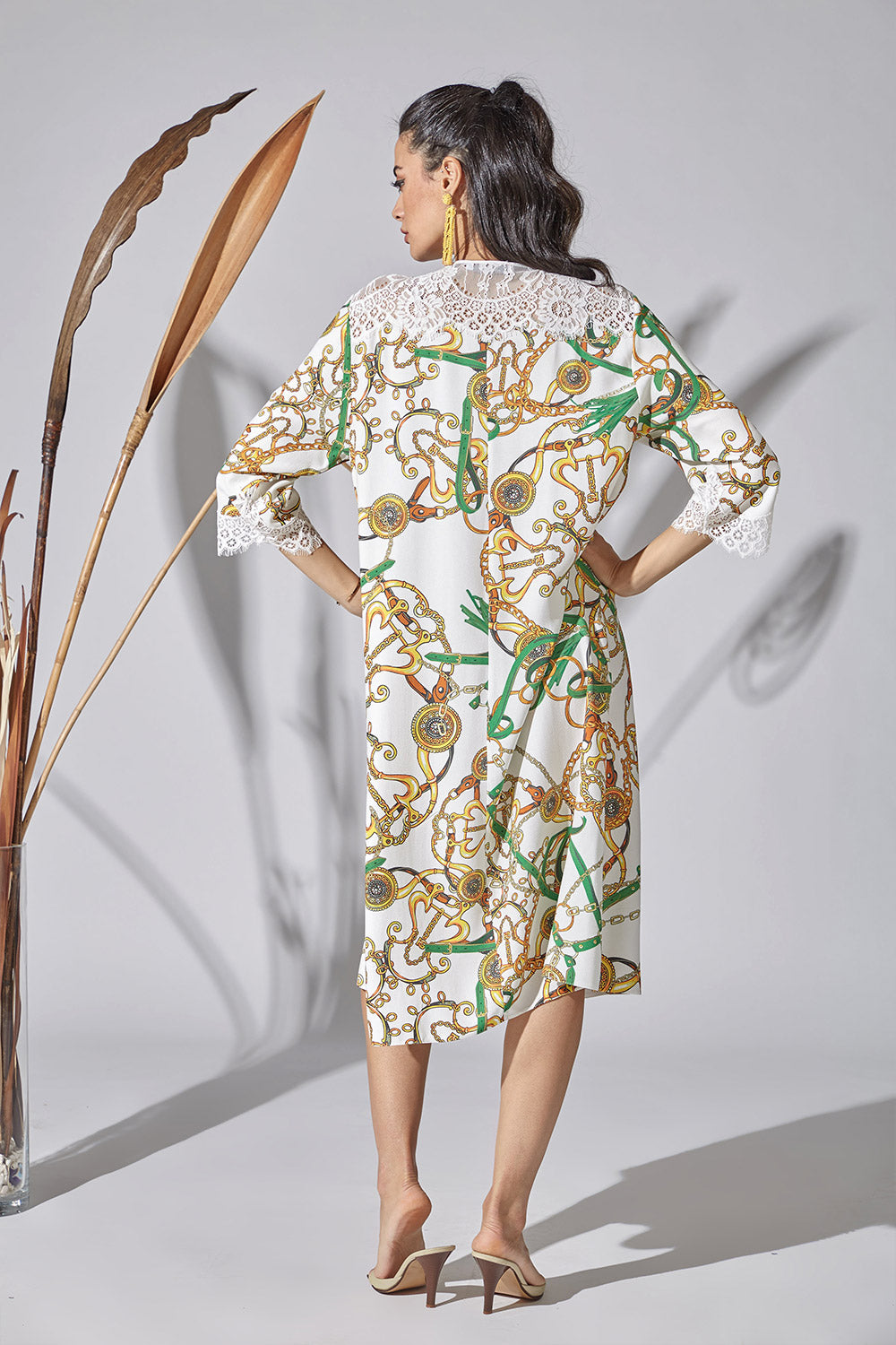 Trimmed Printed Rayon Dress - Unchain Your Hearth