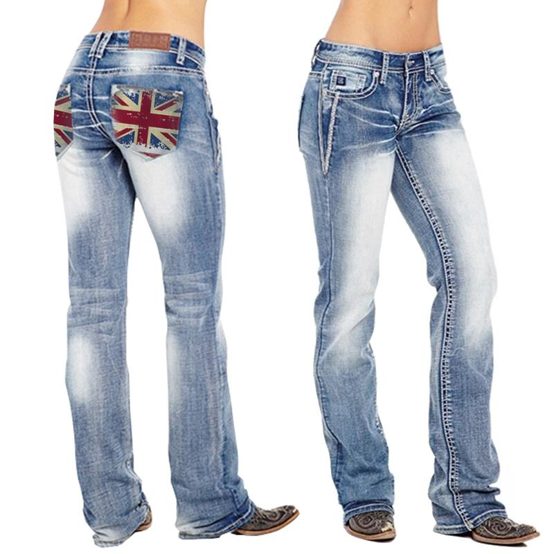 British Flag Stretch Washed Bootcut Jeans