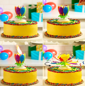 SurpriseCandle™ Upgrade Multicolor Rotating Lotus Cake Candle