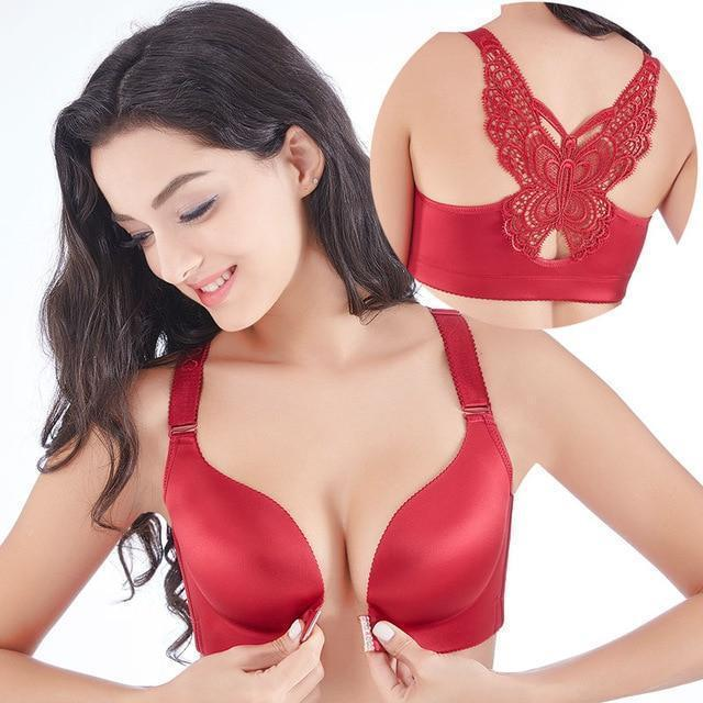 Handmade Butterfly Embroidery Front Closure Wireless Bra ( Buy 2 Get Extra 10% Off ) TopViralPick Wine 40C