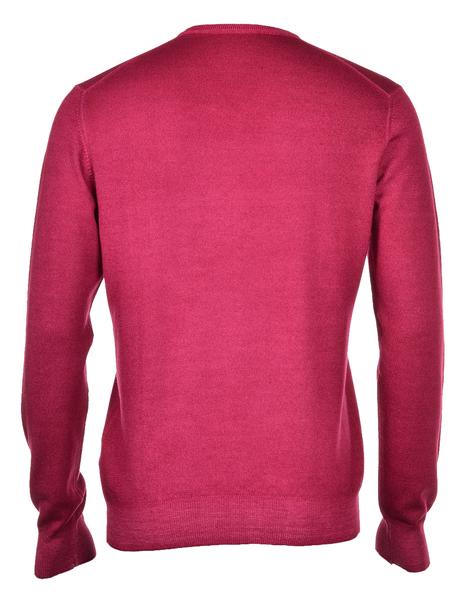 VINTAGE MERINO V NECK SWEATER CHERRY 4097