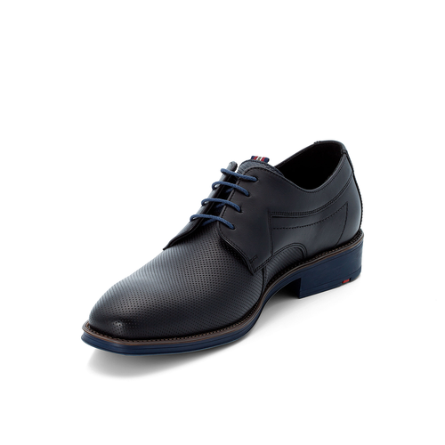 GAVINO EMBOSSED LEATHER LACE UP SHOE BLACK