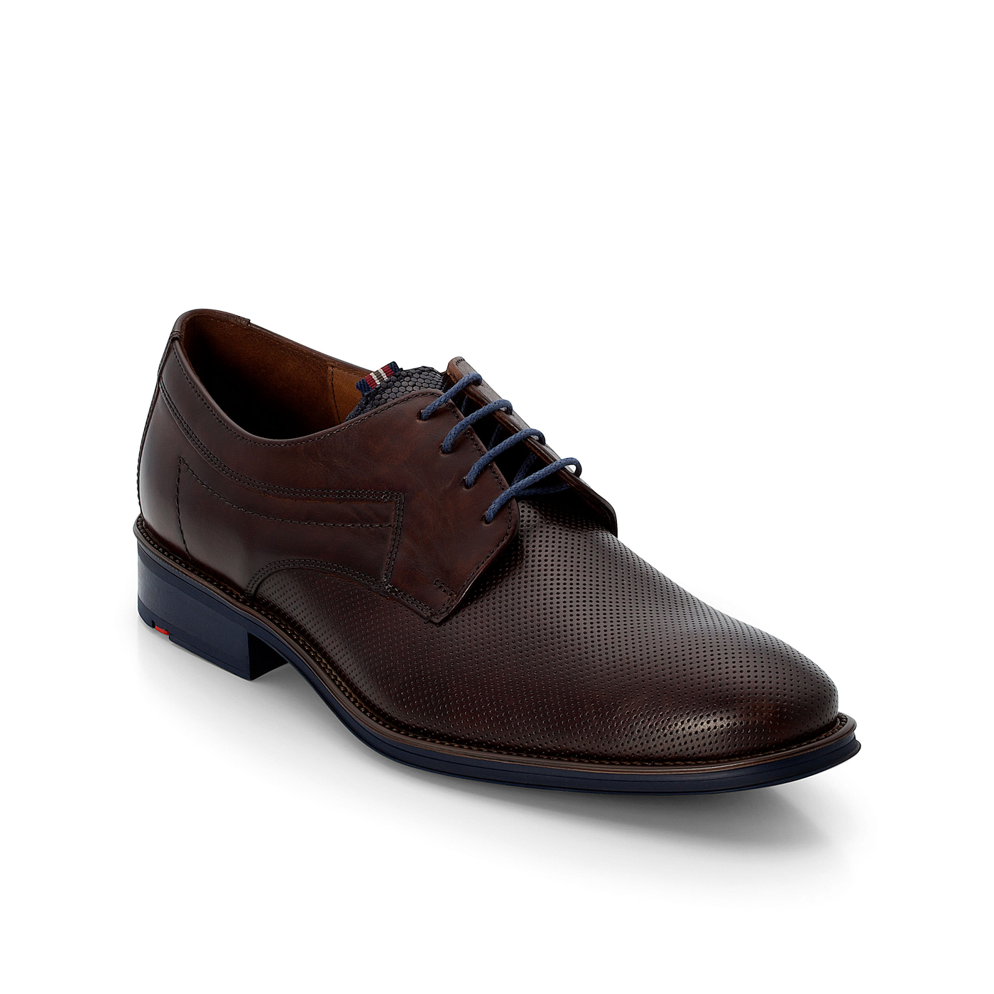 GAVINO EMBOSSED LEATHER LACE UP SHOE DARK BROWN