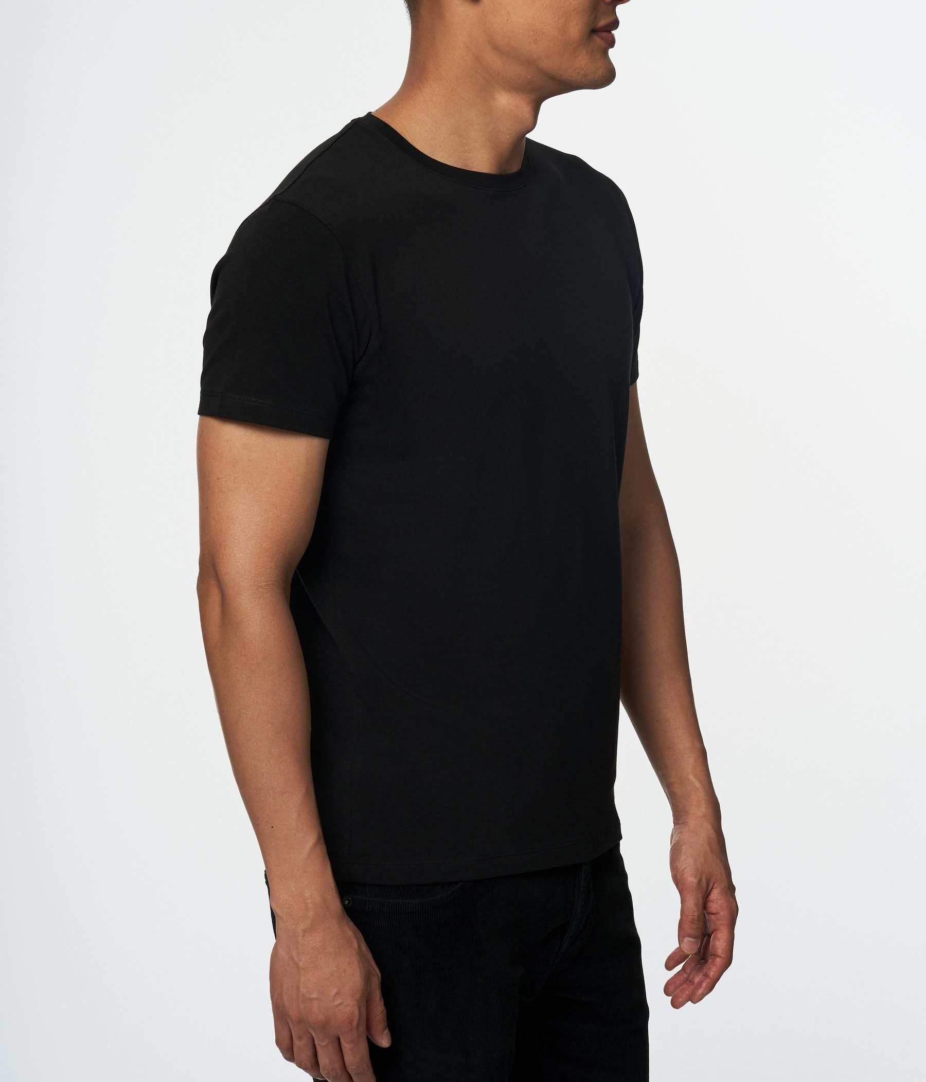 PIMA COTTON STRETCH CREW NECK black