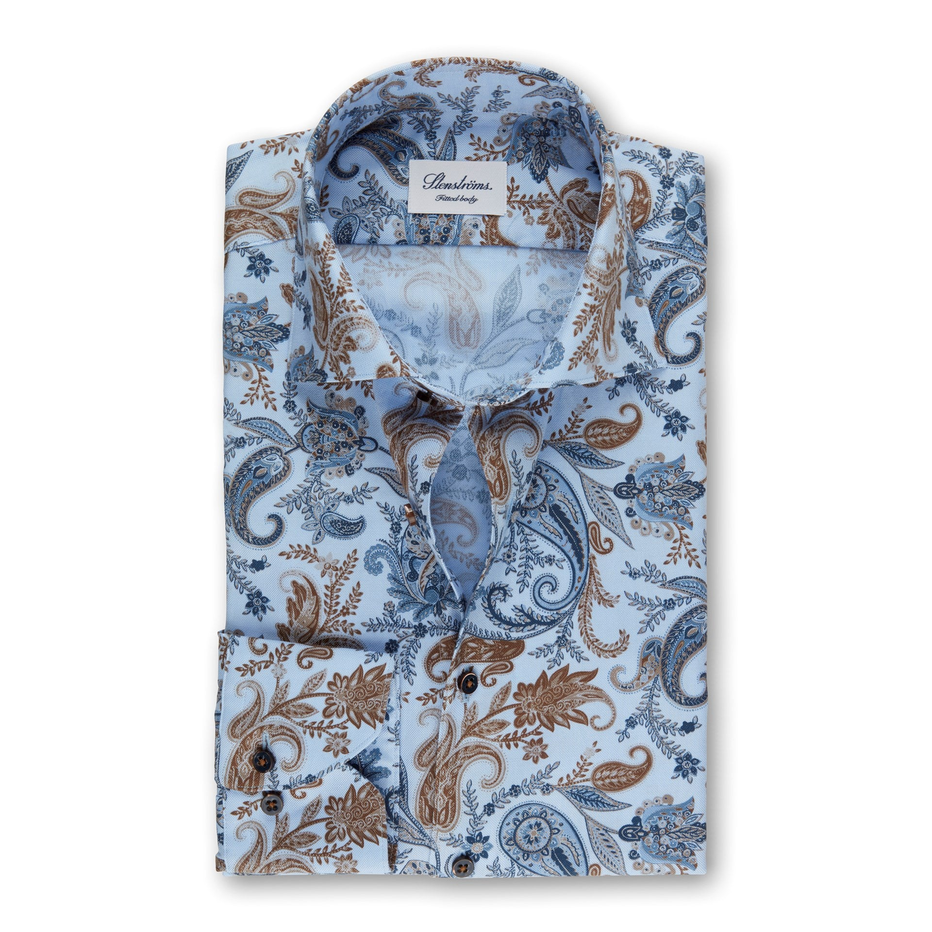 Light Blue Paisley Fitted Body Shirt