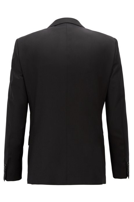 Slim-fit jacket in virgin wool - Black