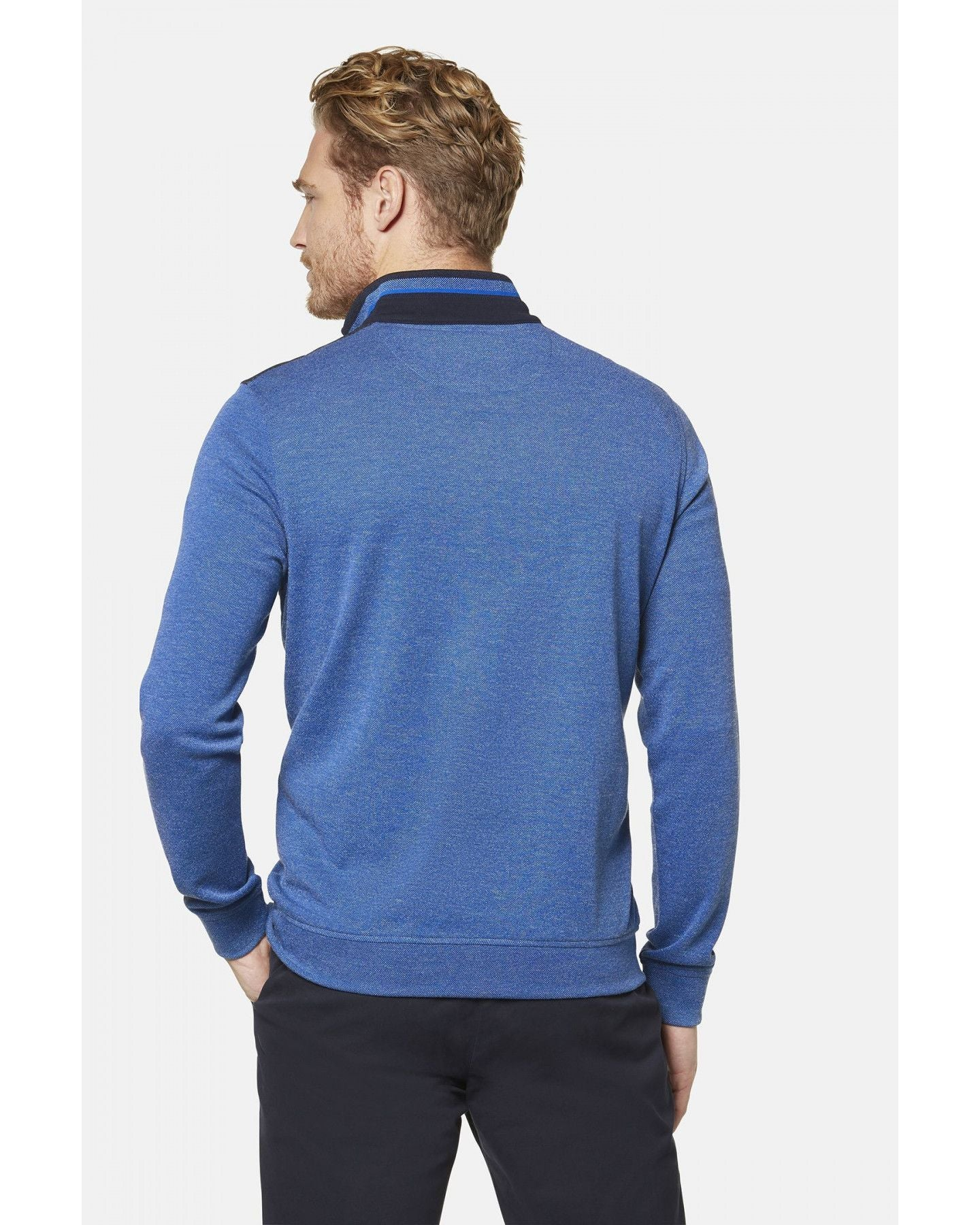 BUGATTI HALF-ZIP SWEATSHIRT IN BLUE