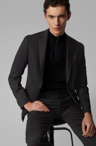 Micro-patterned slim-fit suit in stretch virgin wool Style Neight2/Byte2 - 50427227 Black