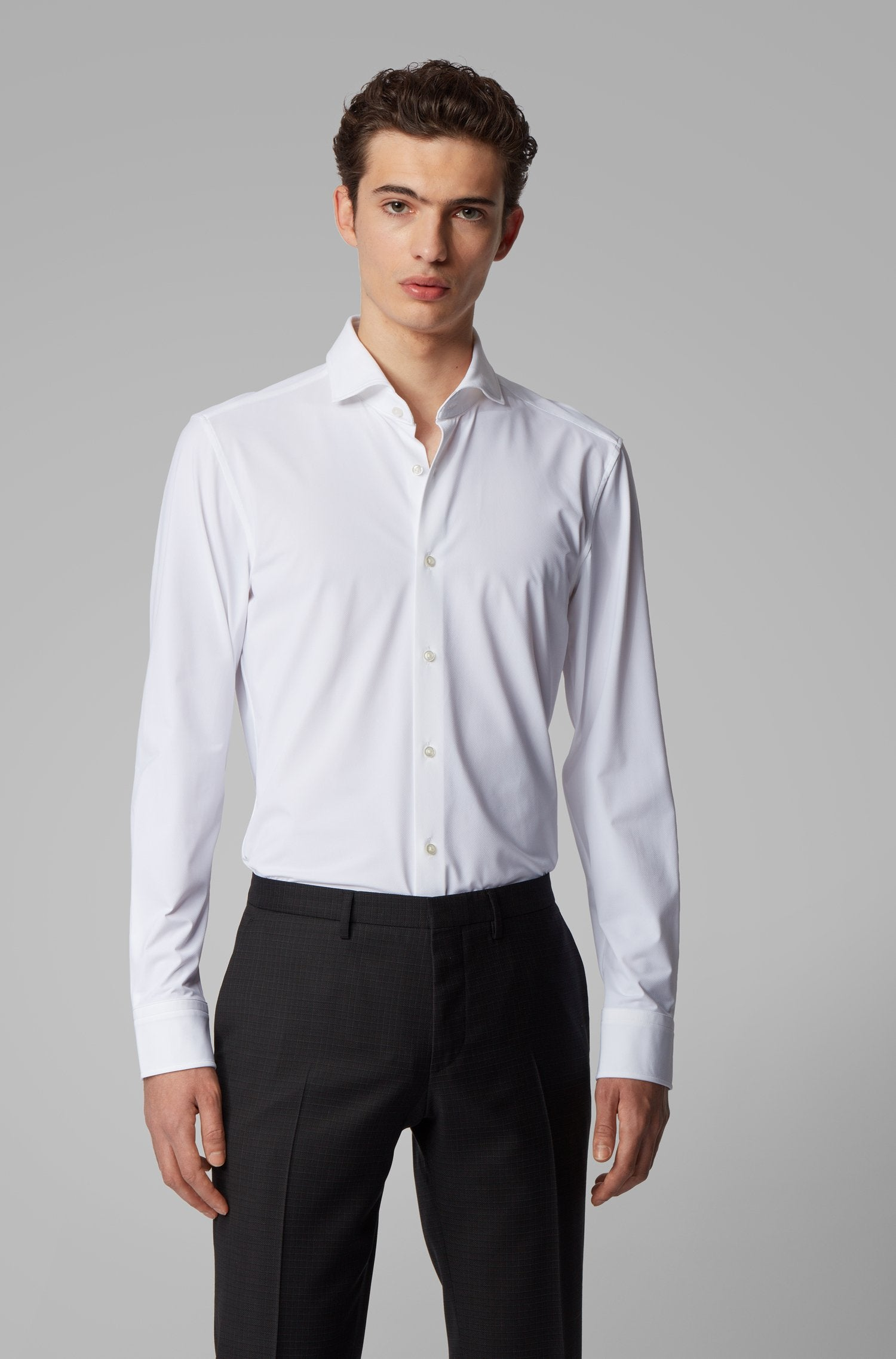 Slim-fit shirt in performance-stretch micro-dobby fabric Style Jason - 50428142 WHITE