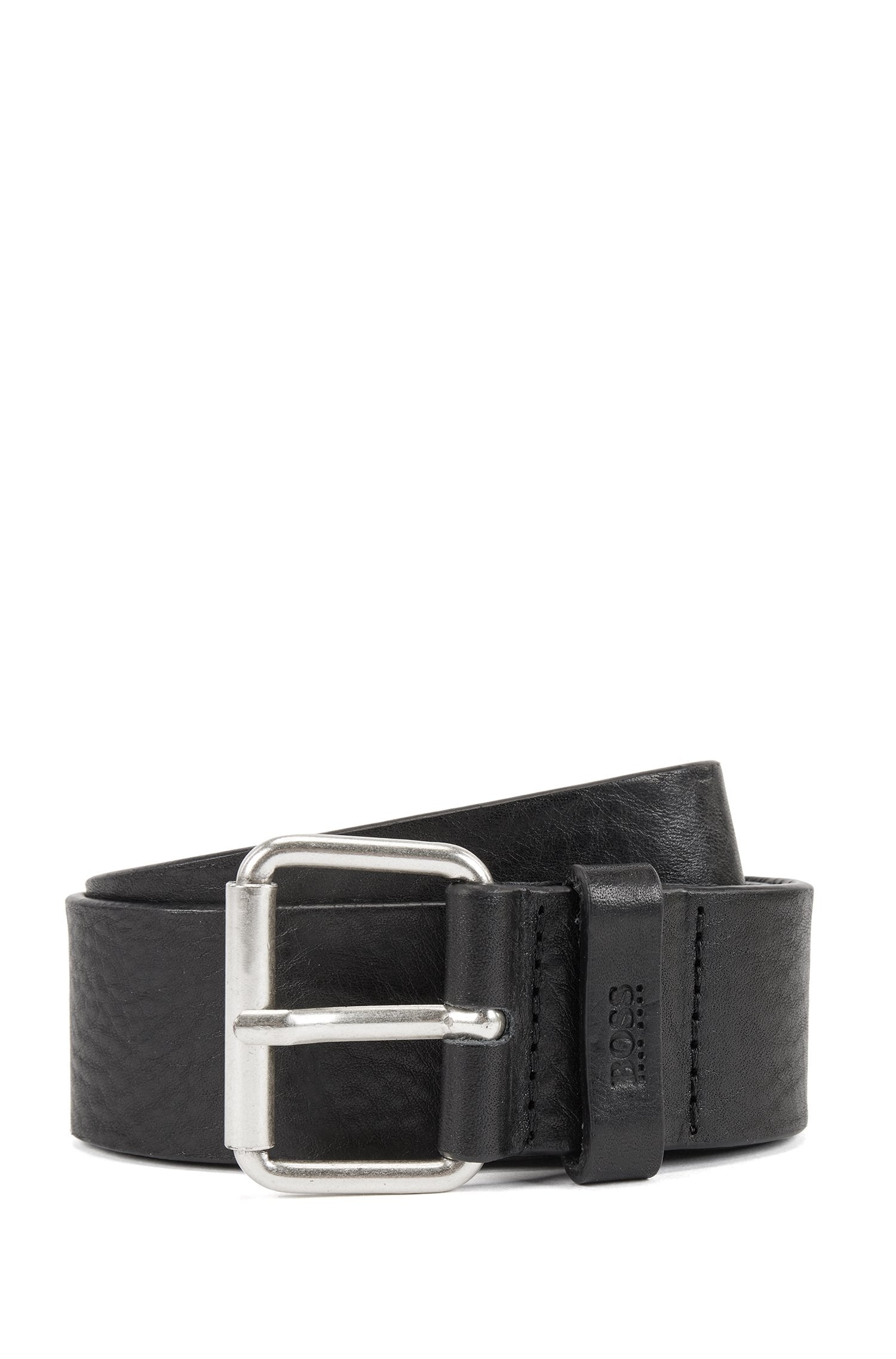 Vegetable-tanned leather belt with chisel tip Style Serge-VA_Sz40 - 50430052 BLack
