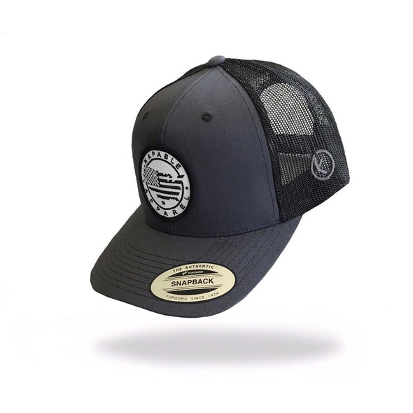 """All American"" 6 Panel Snapback Charcoal"