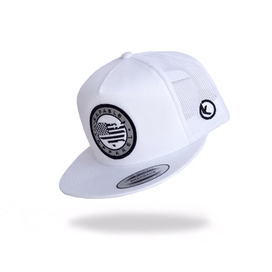 """All American"" 5 Panel Snapback White"