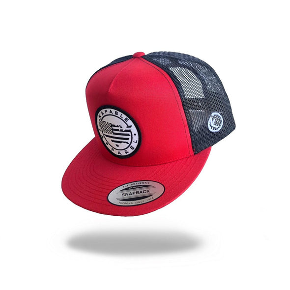 """All American"" 5 Panel Snapback Red"
