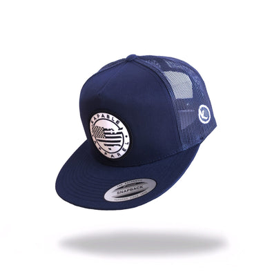 """All American"" 5 Panel Snapback Navy Blue"