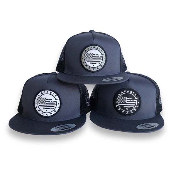 """All American"" 5 Panel Snapback Charcoal"