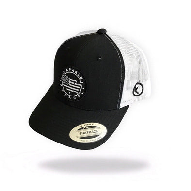 """All American"" 6 Panel Snapback Black/White"