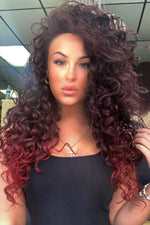 Amber Burgundy Two Tone Curly Lace Front Wig