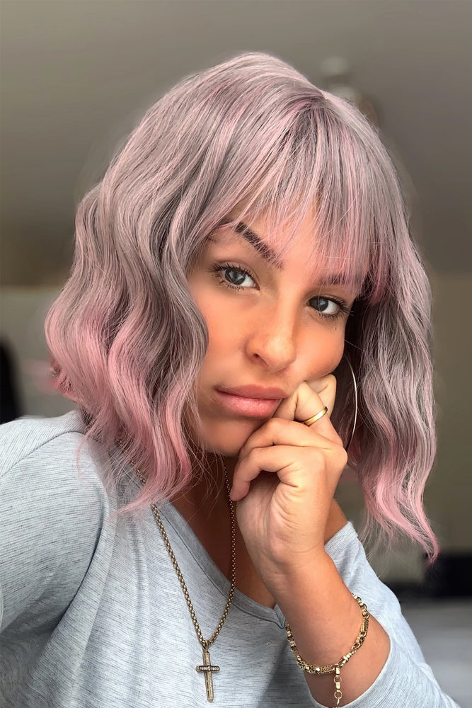 Betsy Wave Lavender Grey to Pink Wig