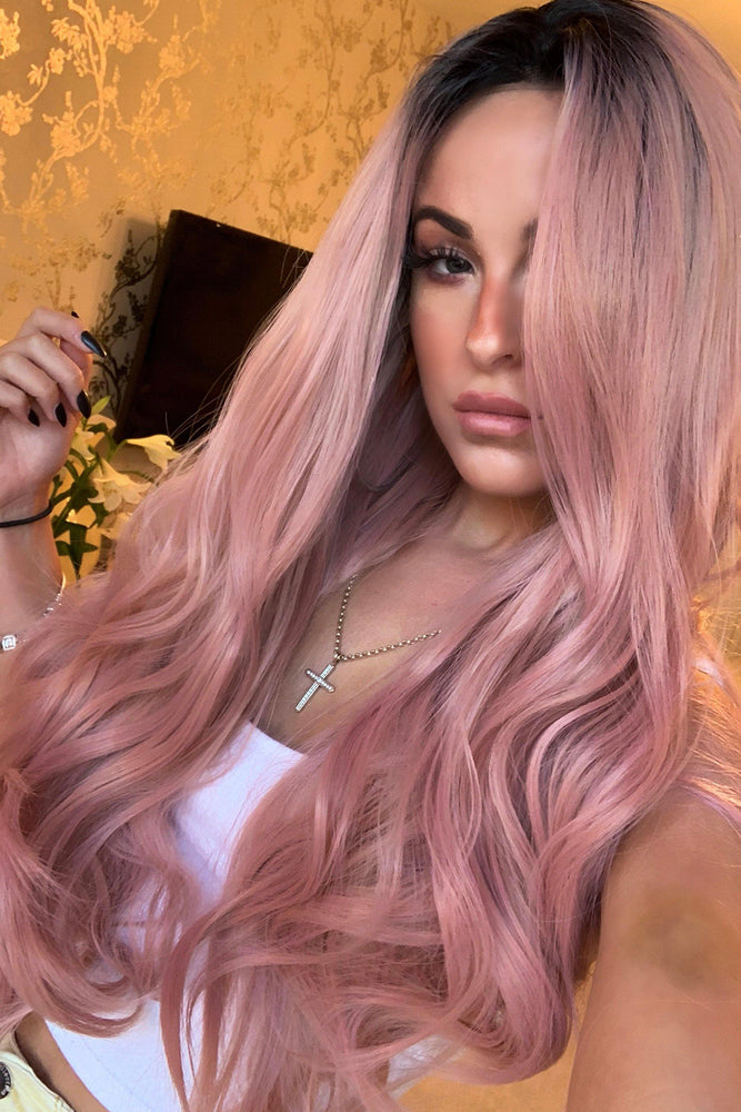 Cardi Pink Wavy Lace Front Wig