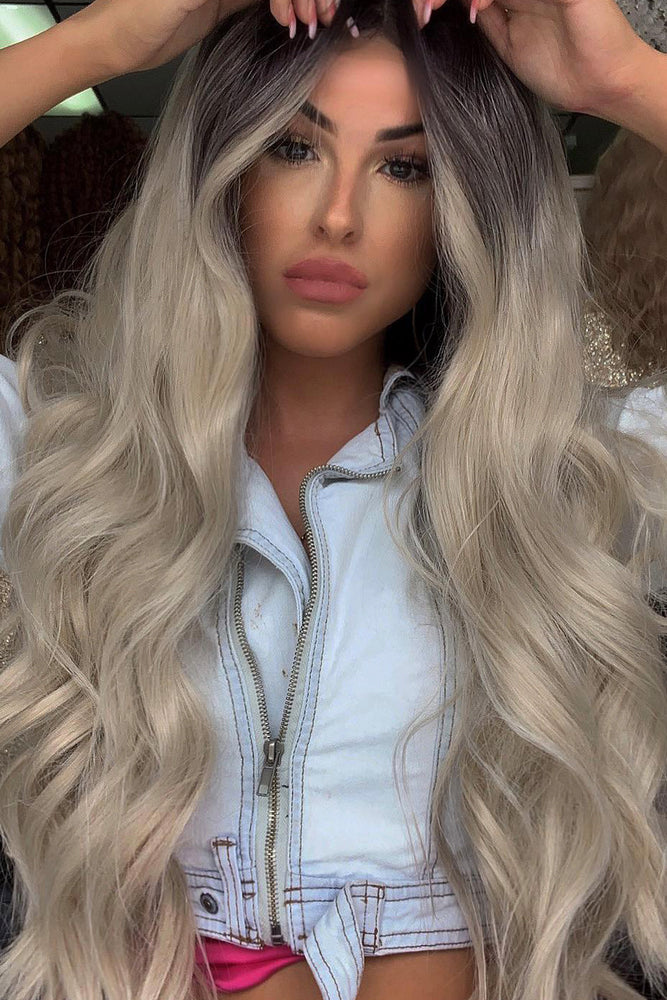 Diamond Silver Blonde Wavy Lace Front Wig