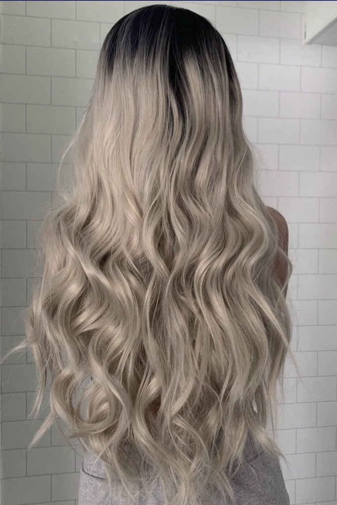 Diamond Silver Blonde Wavy Lace Front Wig - prettydollpalace