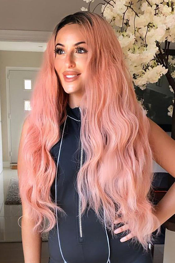 Leonie Pink Long Wavy Lace Front Wig
