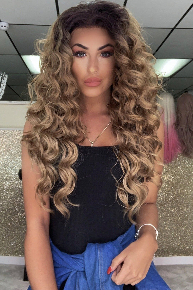 Louisa Caramel Blonde Curly Lace Front Wig - prettydollpalace