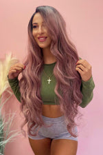 "Lulu 26"" Ash Purple Ombre Wavy Lace Front Wig - Pretty Doll Palace"