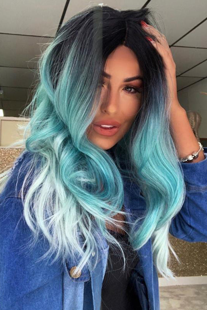 Pacific Turquoise Wavy Lace Front Wig