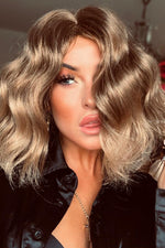 Paris Ombré Brown Curly Bob Full Head Wig