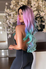 Rainbow Long Wavy Lace Front Wig