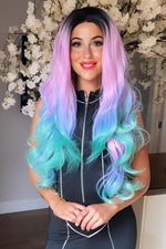 Rainbow Long Wavy Lace Front Wig - prettydollpalace