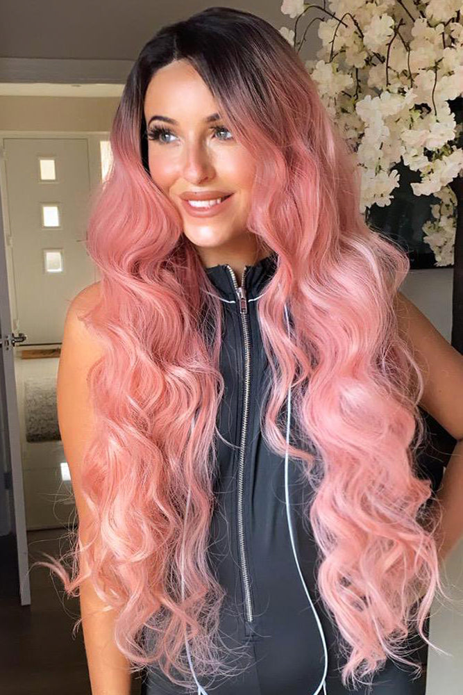 Sadie Pink Long Curly Lace Front Wig