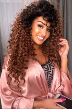 Tella Ombre Brown Curly Lace Front Wig