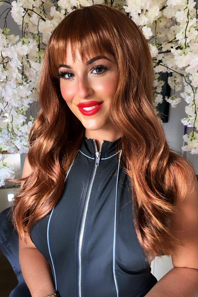Flora Auburn Wavy Full Head Wig with Full Fringe